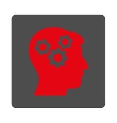 Brain rounded square button vector