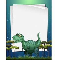 Border design with t-rex in the field vector