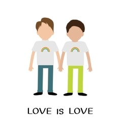 Gay family boy couple rainbow on shirt love is vector
