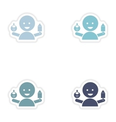 Set of paper stickers on white background Jewish vector image