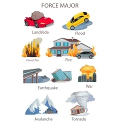 Force majeure natural disaster set vector