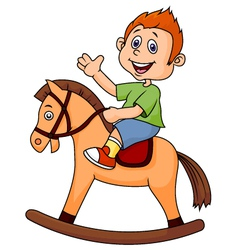 A cartoon boy riding a horse toy vector image