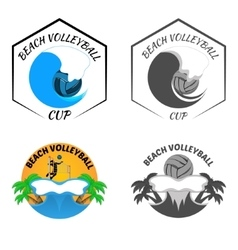 Beach volleyball logo for the team and the cup vector
