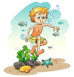Boy under the sea vector