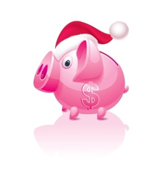 Christmas piggy bank vector image vector image