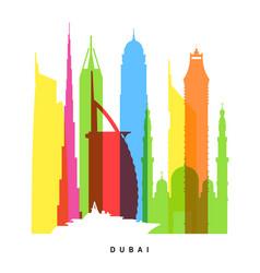 Dubai landmarks bright collage vector