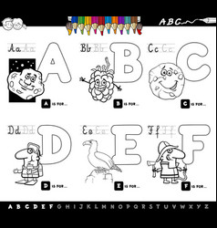 educational cartoon alphabet letters coloring book vector image