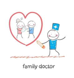 family doctor draws a heart around the family vector image vector image