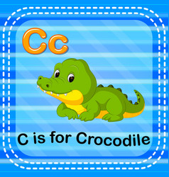 Flashcard letter c is for crocodile vector