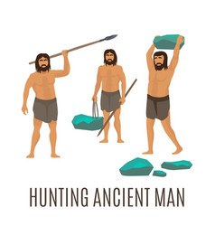 Hunting ancient men vector