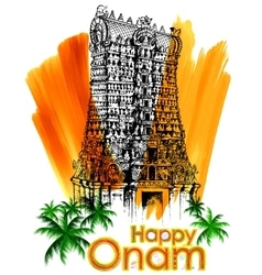 Meenakshi temple in onam celebration background vector