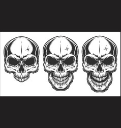Monochrome of skull vector