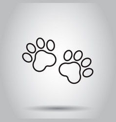 Paw print animal icon in line style on isolated vector