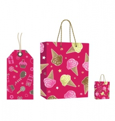 pink bag and tag set vector image vector image