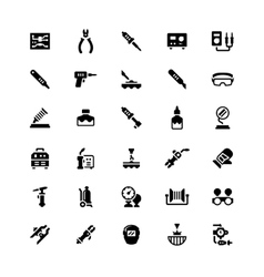 Set icons of welding and soldering vector image