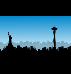 Silhouette of usa building liberty statue scenery vector