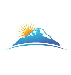 Sunny mountain logo vector image vector image