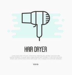 Thin line icon of hairdryer vector