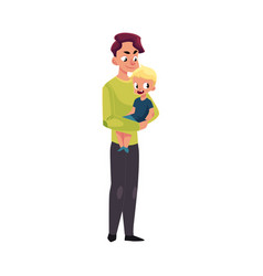 young father dad holding little son in arms vector image