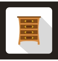 Brown chest of drawers icon flat style vector