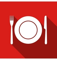 Platefork and knife flat icon with long shadow vector image