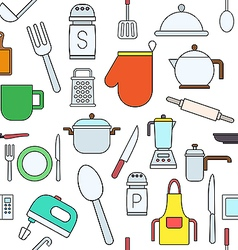 Kitchen items colorful pattern icons vector