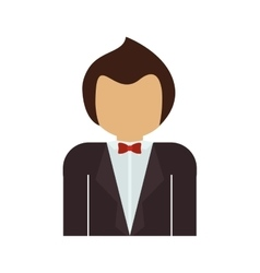 Half body man with formal suit and bowtie vector