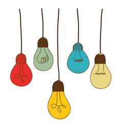 silhouette of set light bulbs pendant in several vector image