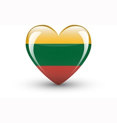 Heart-shaped icon with national flag of lithuania vector