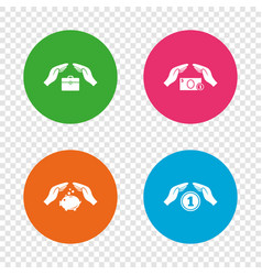 hands insurance icons money savings signs vector image
