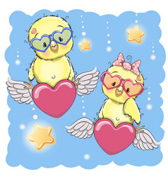 Cute lovers chickens vector