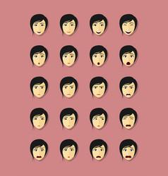 Emotional faces set vector