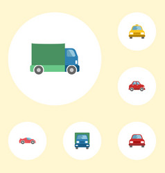 Flat icons cab truck luxury auto and other vector