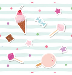 Festive seamless pattern with cute stickers on vector