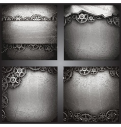 gear wheels on steel background set vector image