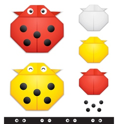 Origami ladybug creation kit vector