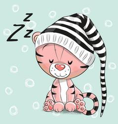 sleeping cute tiger in a hood vector image