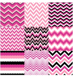 Seamless pink zig zag set vector