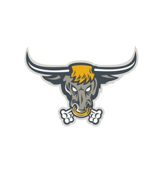 Texas longhorn bull head front vector