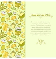 Tea for template card vector