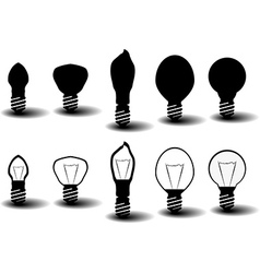 Collection of several bulbs on white background vector