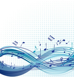 Abstract blue music background with notes vector