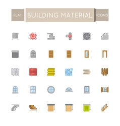 Flat building material icons vector