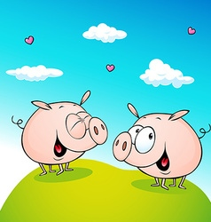 Cute pig in love - vector