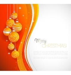 Merry christmas card with orange bauble vector