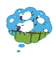 Sleepy lambs jumping through a fence vector