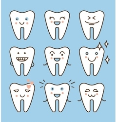 Tooth icons set dental collection vector
