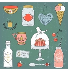 Colorful collection of sweets and drinks cute vector