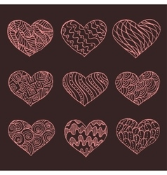 Set of hand drawn hearts ornate ink drawing vector