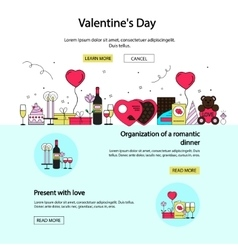 Valentines day posters and banners in flat style vector
